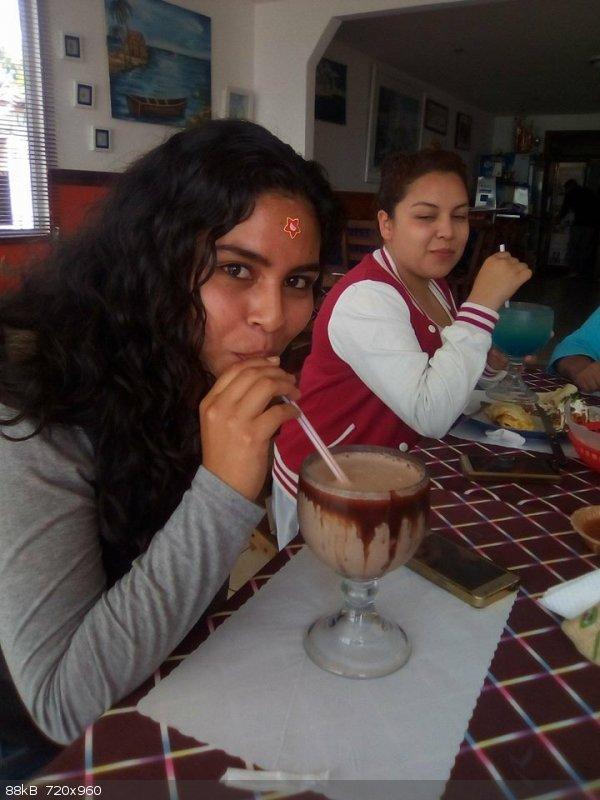 Michelle and her chocolate milkshake.jpg - 88kB